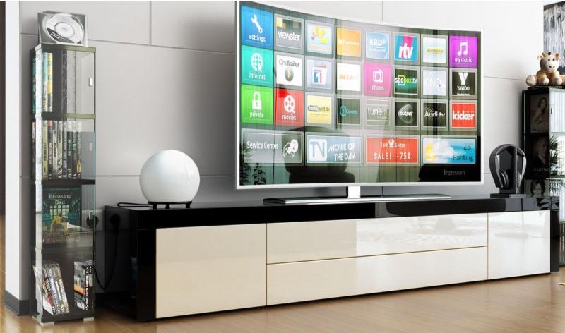 meuble tv bas laqué noirblanc