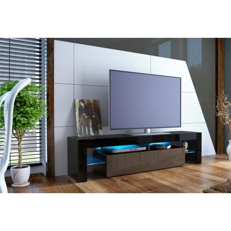 Meuble tv design laqué noir et chocolat trouvé sur www.meublesdiscountenligne.com