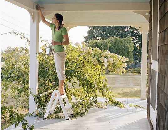 peinture-exterieur-jardin-bois-echelle-patio-pinceau-escabeau-travaux-ete